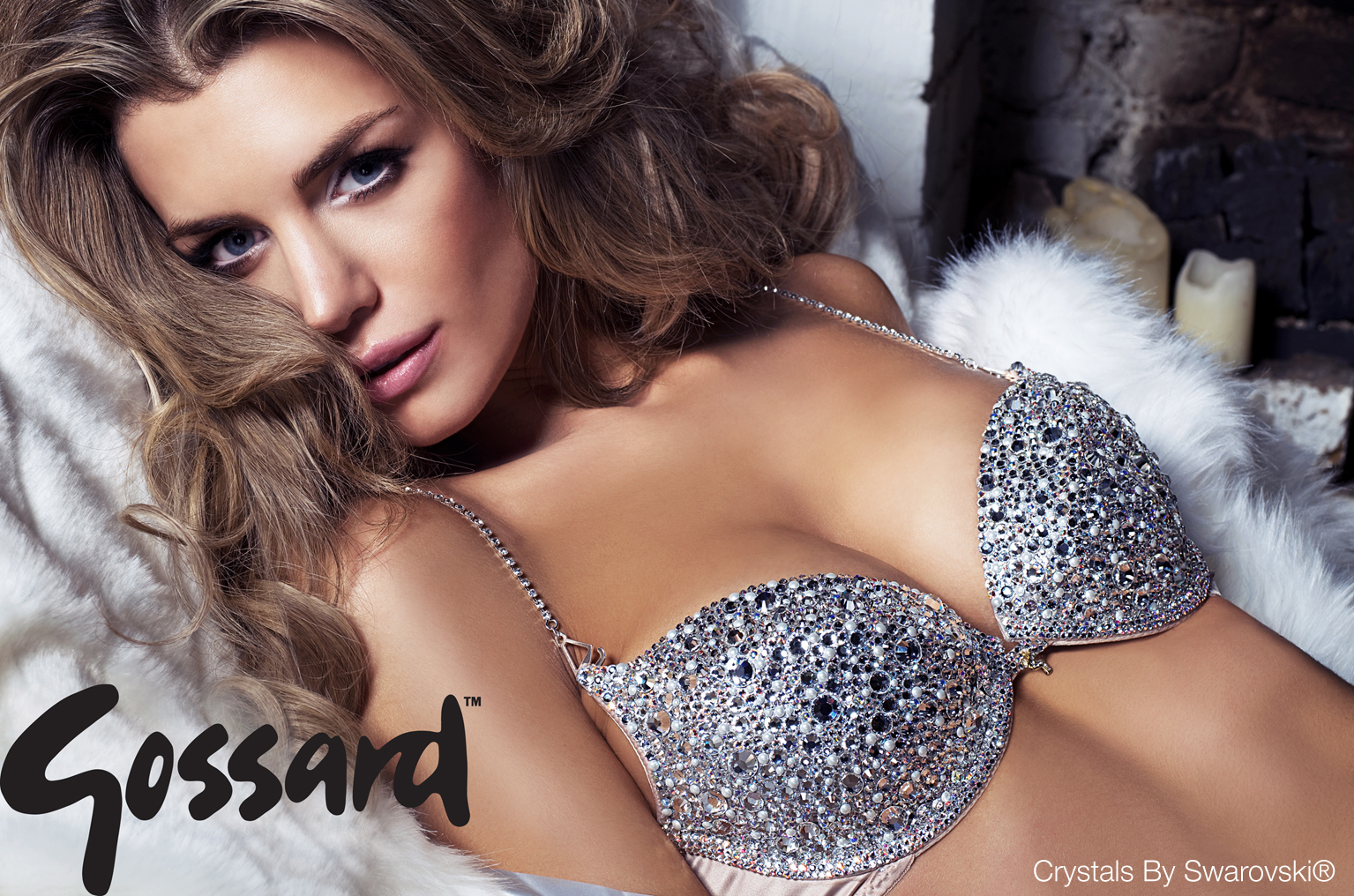 47203585e2 Elle Liberachi wearing our stunning bra in diamonds and pearl crystals by  Swarovski®. The most glamourous sparkly underwear ever made